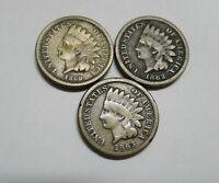 Civil War Era! Lot of 3 Copper Nickel Indian Cents! 1860, 1862, 1863!
