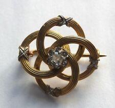 Antique 18ct Gold Rose Cut Diamond Art Nouveau French Brooch