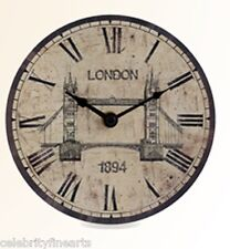 Tower Bridge London Clock Rustic Timepiece Roman Numerals Iconic Scene Gift NEW