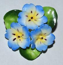 VTG CARA CHINA STAFFORDSHIRE ENGLAND BONE CHINA BLUE PERIWINKLE FLOWER BROOCH