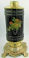 Antique Composite Banquet Kerosene Oil Lamp Glass Drop In Font Ornate Cast Base
