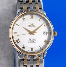 Mens Omega DeVille Prestige Co-Axial Chronometer 18K Gold SS watch - Silver Dial