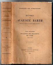 AUGUSTE BARTH INDIANISME RELIGIONS DE L'INDE 1914 ANTHROPOLOGIE RELIGIEUSE