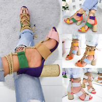 Women High Heel Sandals Boho Ankle Strappy Summer Holiday Beach Wedge Shoes New