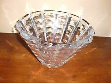 "VTG SPARKLING Heavy Lead Crystal Staps Pattern Vase Bowl Center Piece 6""T RARE!"
