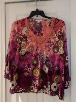 Dressbarn Women's Long Sleeve Blouse W/ Multicolored floral Size XL Top