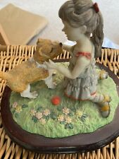 Large Vintage China Ornament On Wooden Plinth Girl With Dog, Marked Foreign