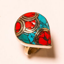 Red Coral Tibetan Turquoise Handmade Jewelry Nepali Adjustable Ring USA-251