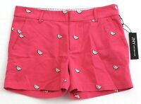 Jones New York Pink Embroidered Watermelon Cotton Stretch Shorts Women's NWT