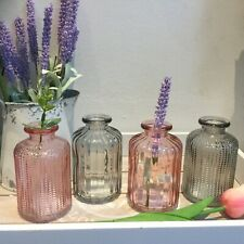 Set of 4 Small Smokey Grey And Pink Ridged Glass vases