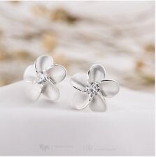 Plum Blossom Flower Sterling Silver Cubic Zirconia Crystal Stud Earrings A40