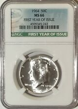 1964 P NGC MS66 SILVER KENNEDY HALF DOLLAR FIRST YEAR ISSUE LABEL 90% COIN JFK