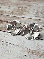 Vintage Clip On Earrings Silver Tone Large Statement Flower