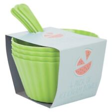 1x(G)  Ice Cream Bowls and Spoons Set 4 Pack - green