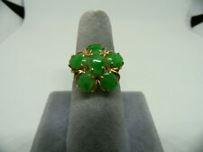 Vintage Solid 14K Yellow Gold Size 6 3/4 Jade Floral Ring, Estate Jewelry