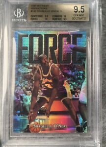 1997 Finest Silver Refractor #148 Shaquille O'Neal BGS 9.5 GEM Two 10s #d/ RARE!