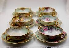 ANTIQUE LIMOGES ROSES  HAND PAINTED PLATE & SOUP BOWL SET of 6 ...