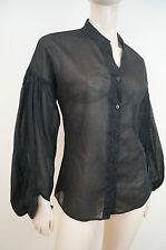 MAX & CO CHEMISES nero trasparente senza colletto a pieghe manica lunga Blusa Top taglia: M