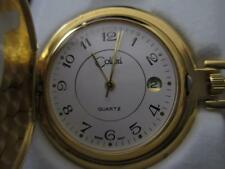 COLIBRI Gold Tone White FACE POCKET WATCH & Chain with date & Engravable Shield