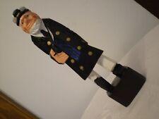 "*Sea Captain* w. Peg Leg ~ Hand Carved & Painted Wood Nautical Statue 8""Tall Usa"