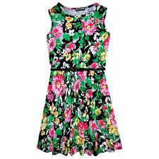 Girls Skater Dress Kids Black Floral Print Summer Party Dresses Age 7-13 Years
