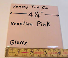 1 pc.  Glossy Ceramic Tile *Venetian Pink* by Romany Tile Co.  4-1/4