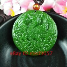 Natural Green Necklace Gifts Charm Phoenix Pendant Jade Amulet Jadeite Jewelry