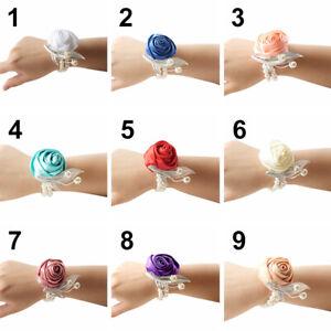 Wrist Bracelet Bride Bridesmaid Hand Flower Corsage Wedding Formal Evening Party