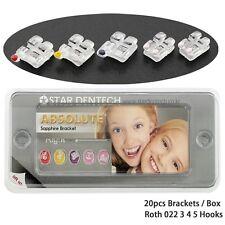 20PCS Dental Orthodontic Sapphire Crystal Bracket Aesthetic Roth 022 3 4 5 Hooks