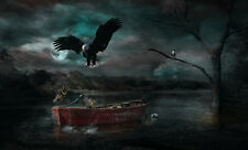 """perfact 24x36 oil painting handpainted on canvas """"eagle,boat,moon""""@NO3303"""