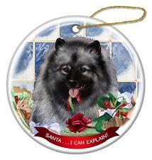 Keeshond Dog Porcelain Hanging Ornament Pet Gift 'Santa. I Can Explain!'