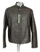 John Varvatos Wrinkled Green Leather Jacket RRP £1590 Brown EU52 Large Coat