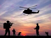Photograph Composition Sunset Soldiers Helicopter Silhouette Canvas Art Print