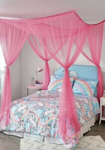 Justice Rectangular Big Pink Mesh Net Bed Canopy 90X74X66 w/Ceiling Hooks