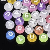 200 Random Transparent Acrylic Coin Beads Frosted Letters Alphabet Spacers 7mm