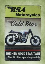 premier garage Bsa motorcycles gold star tin metal sign