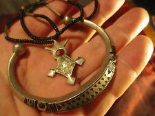 Lot Tuareg Ethnic tribal silver necklace and bracelet, ca 45 grams
