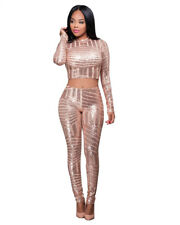 USA Women Sequined Mesh  Bodysuit  Two Piece Set Sexy Party Club Jumpsuit 8265