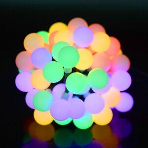 Solar Outdoor String Lights Waterproof 23Ft/7M 50 LED Bulb WHITE Ball UK