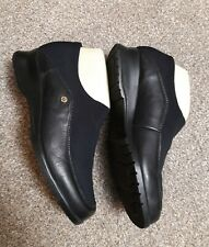 RIEKER ladies combination black leather & fabric loafers size 4