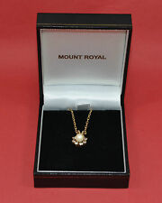 beautiful ladies 9 ct yellow gold pendant pearl & paste cluster + 9 ct necklace