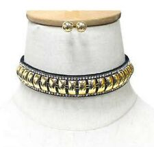 Adjustable Crystal Line Accent Gold Tone Metal on Black Suede Choker H: 20mm