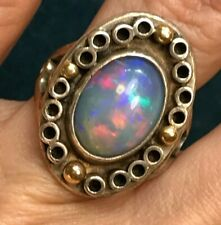 "18k Yellow Gold Beads & 925 Ethiopian Welo Opal Ring. Large 1"" 10g--VIDEO--K5L7J"