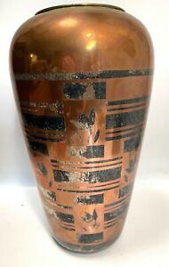 Luc Lanel for Christofle French Art Deco Dinanderie Vase-13""