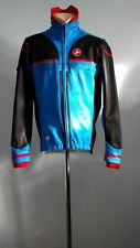 Castelli Cycling Race Jersey Wind Stopper Blue Red Long Sleeve Italy Zip Size XL