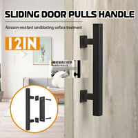 "12"" Sliding Barn Door Pull Flush Handle Gate Hardware Set Cast Iron Matte"