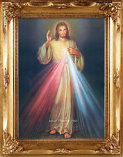 LARGE - DIVINE MERCY JESUS GOLD FRAMED PICTURE - STATUES CANDLES CROSSES LISTED