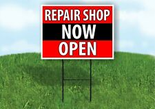 Repair Shop Now Open Black Stripe Plastic Yard Sign Road Sign with Stand