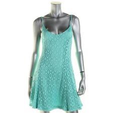 Aqua 1954 Womens Blue Crochet Lace Stretch Spaghetti Straps Casual Dress S BHFO