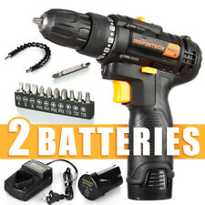 12V Cordless Drill Driver 2 Lithium-ion Batteries 3/8 In Keyless Chuck DIY Drill